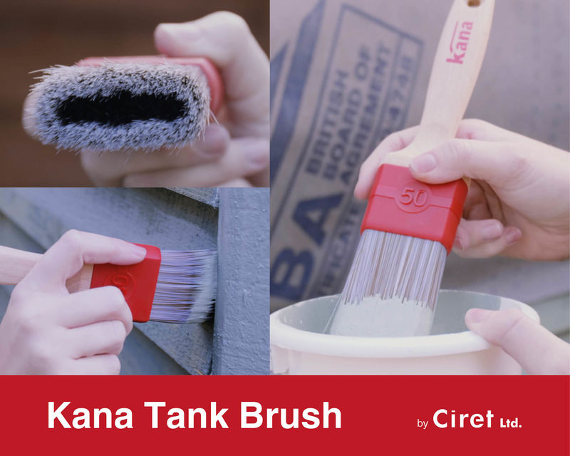 Kana Tank brush review, showing the paint brush being tested on different surfaces.